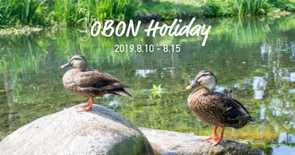 OBON Holiday 2019.6.10-8.15 写真:鴨が2羽石の上に並んでいる様子